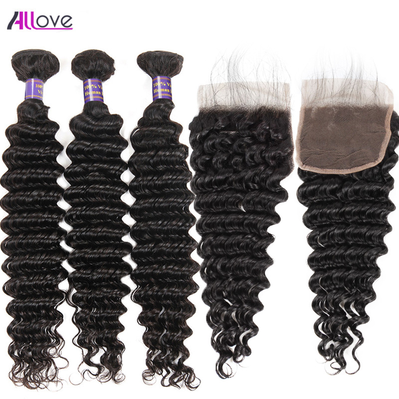 Allove Brazilian Deep Wave Hair 3 Bundles With Closure Remy Hair Bundles Middle Part Lac ...