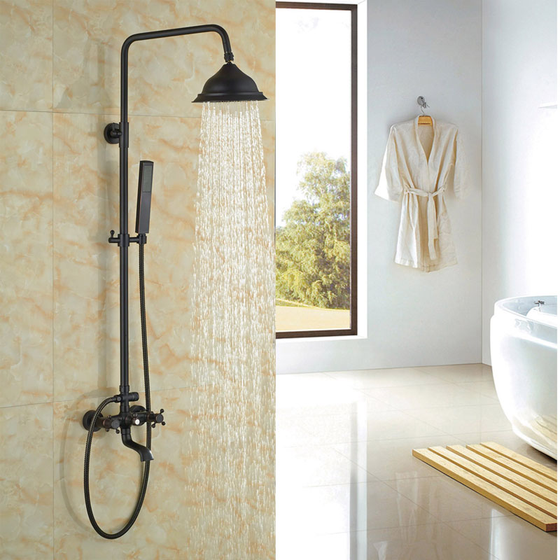 Widespread W/Hand Shower Faucet Oil Rubbed Bronze Shower Set Bath Tub Rainfall Shower Wall Mounted