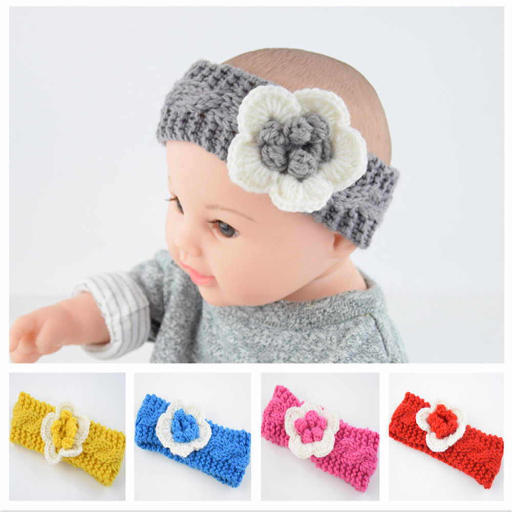 Fashion soft Baby winter Keep Warm Flower Knitting wool Infant Kids Girl Hairband Phtography Props baby hair accessories #Tz63