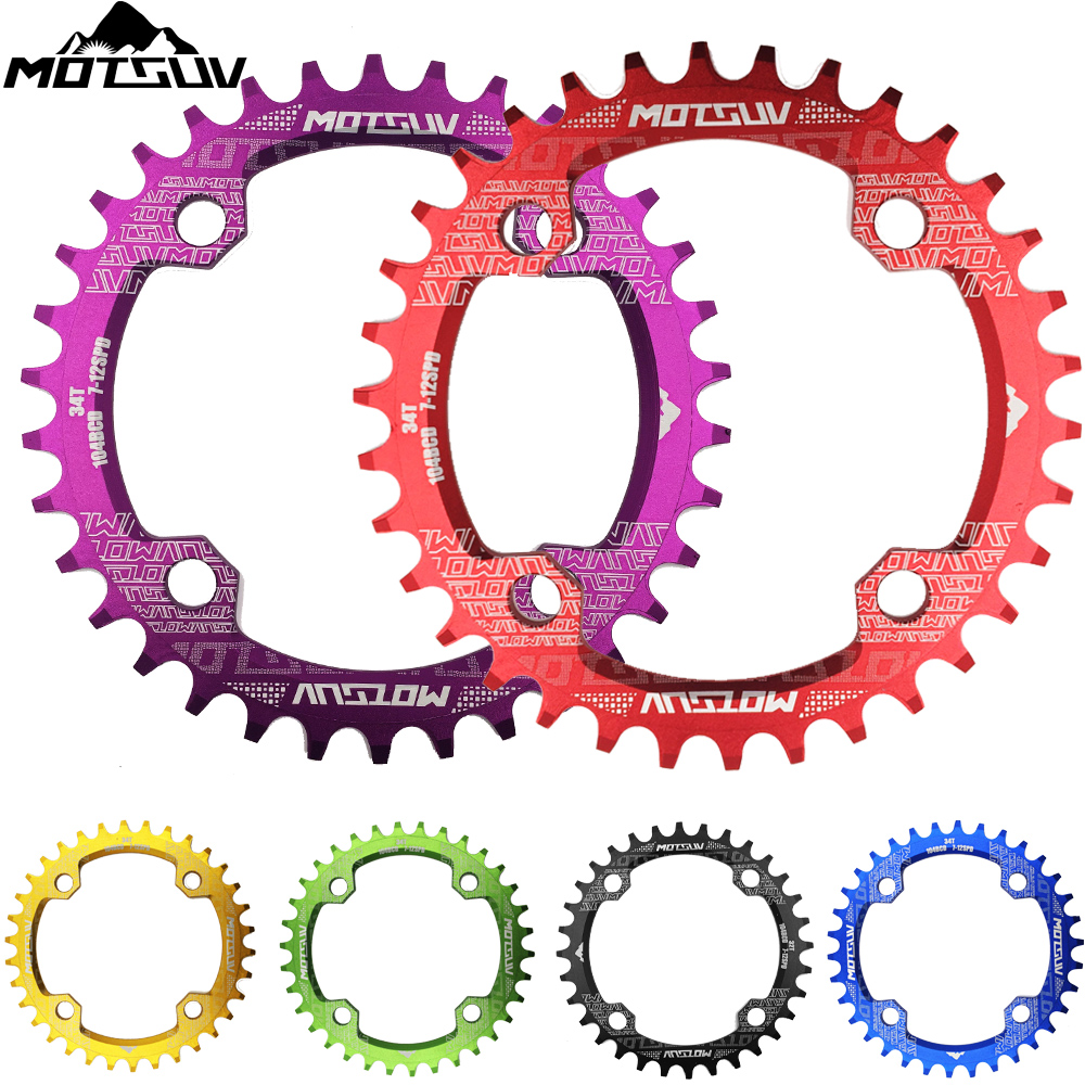 MOTSUV Oval Round Bicycle Crank & Chainwheel 104BCD Wide Narrow Chainring 32T/34T/36T/38T Crankset MTB Bike Bicycle Parts