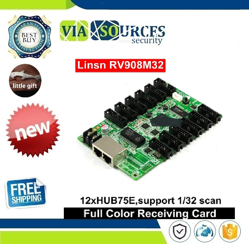 Linsn RV908 RV908M32 Led Video Display Receiving Card 12xHub75 Ports Support P2/P2.5/P3 Indoor 1/32 Scan LED Module