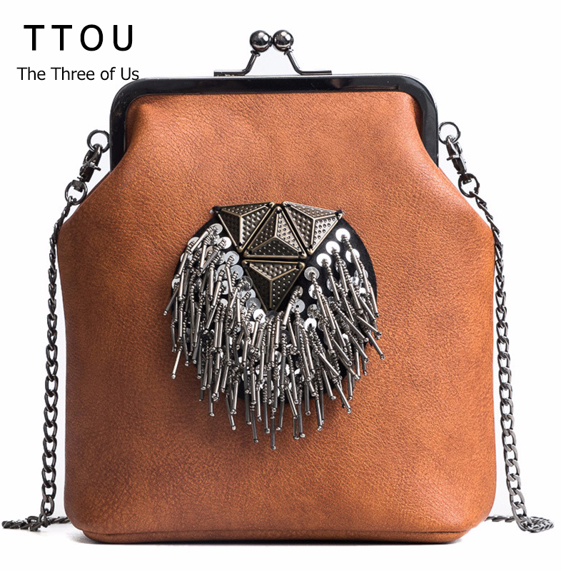 TTOU Messenger Bags for Women PU Leather Tassel Fashion Handbags 2018 New Arrival INS Style Crossbody Chains Shoulder Bags