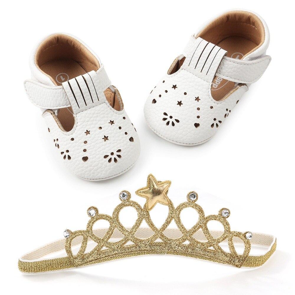Delebao New Style PU Crianças Sapatos de Bebê Recém-nascido Com Headband Rasa Anti-slip Bebê Menina Primeiro Sapatos Caminhantes Atacado