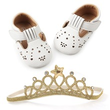 Купить с кэшбэком Delebao New Style PU Toddlers Newborn Baby Shoes With Headband Shallow Anti-slip Baby Girl Shoes First Walkers Wholesale