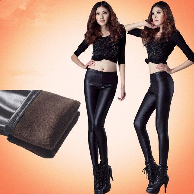 Осенью и зимой плюс бархат утолщение матовый искусственной кожи брюки флис тепловой леггинсы плюс размер женских брюк