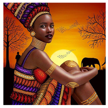 5D DIY Diamond Painting Full Square Drill Sunset african girl 3D Embroidery Cross Stitch Mosaic Home Decor Z1087