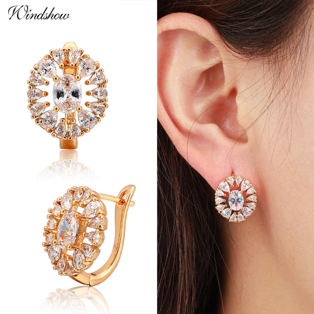 4 Colors Oval Cut Gem Paved White CZ Around Circles Huggies Hoop Earrings for Women  Gold Color Luxury Jewelry Aros Brincos