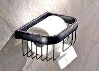 NUEVO Estilo Negro Cuarto de Baño Montado En La Pared Sostenedor de Papel Higiénico Rollo de papel Aceitado Bronce Acabado Cesta Wba533