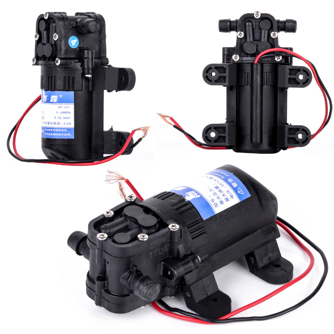 Durable DC 12V 70 PSI Agricultural Electric Water Pump Black Micro High Pressure Diaphragm Water Sprayer Pumps 3.5L / Min