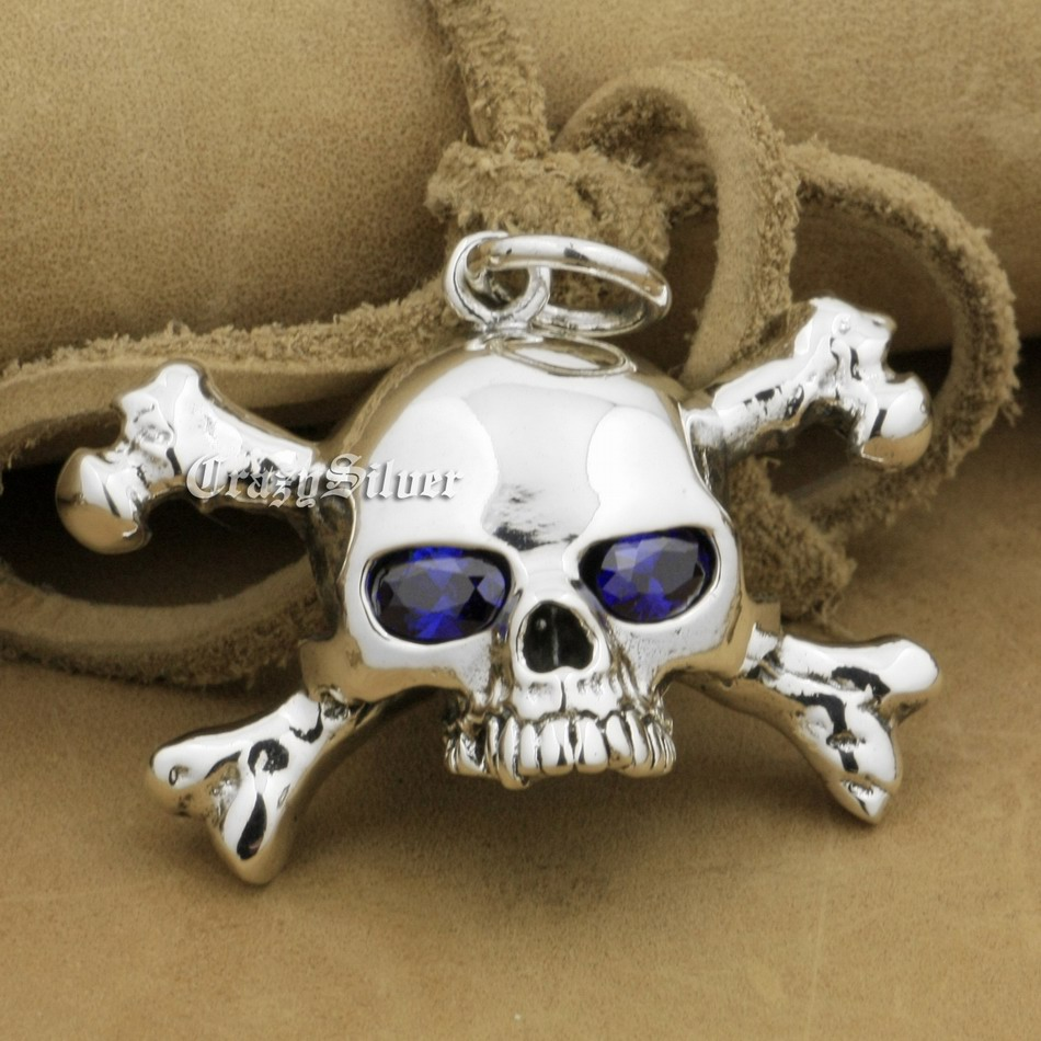 Image 5 - 925 Sterling Silver CZ Eyes Skull Cross Bone Mens Biker Rocker  Punk Pendant 9V024 Just Pendantpendant solitairependant  jewellerypendant bail