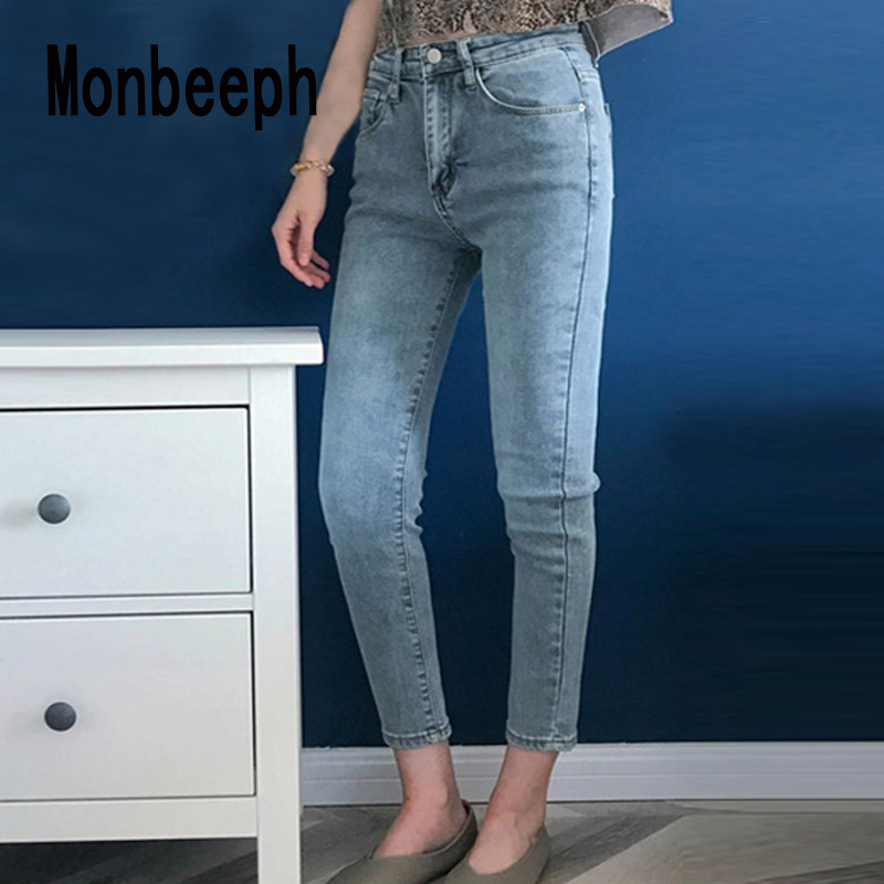Monbeeph Jeans Pants Stretch Waist Blue Women Skinny Black Denim Woman High for And Slim