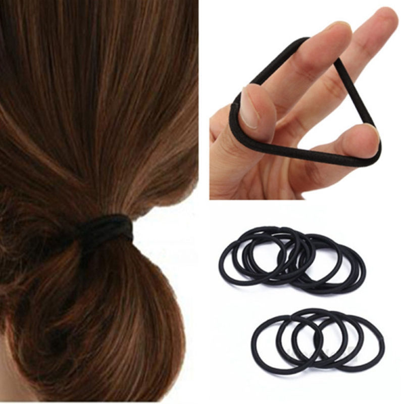 50pcs Women Elastic Hair Ties Band Ropes Rings Ponytail Holder Accessories  Black 46f01121239