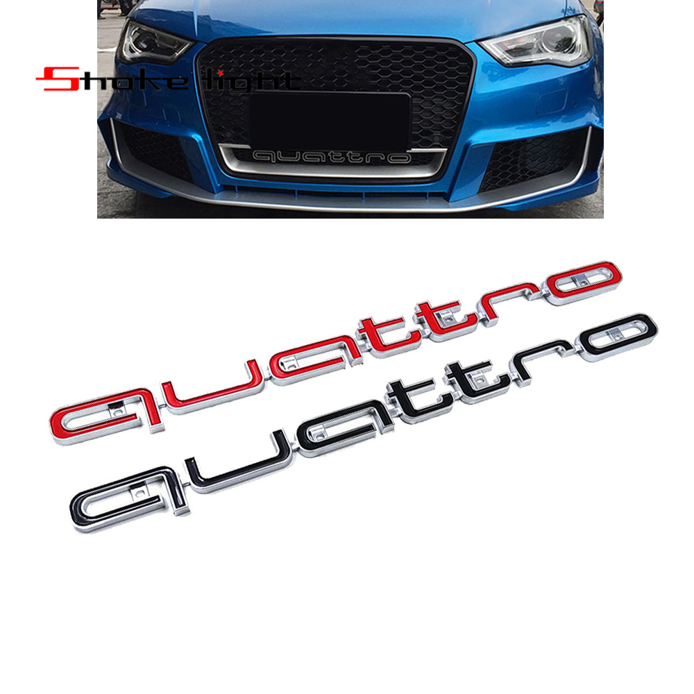 Red Black Quattro Emblem For A4 A5 A6 A7 RS5 RS6 RS7 RS Q3 Emblem Badge Car Stick ABS Stickers front grill Lower trim