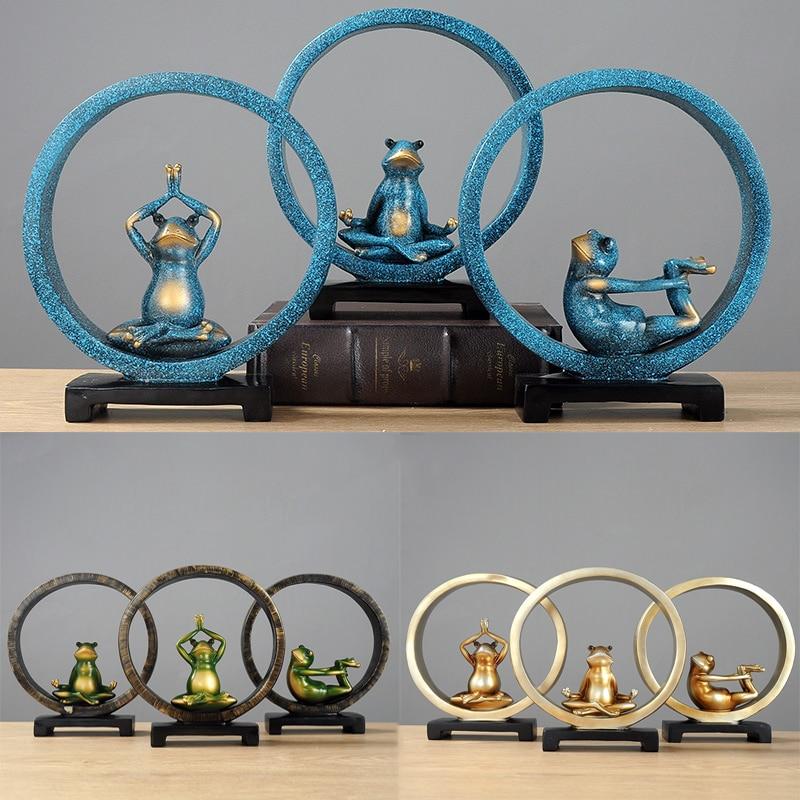 3/Color Creative Vintage Yoga Frog Sculpture Dolls Figurine Gesture Statue For Home Office Shop Desk Decor Ornament Gift