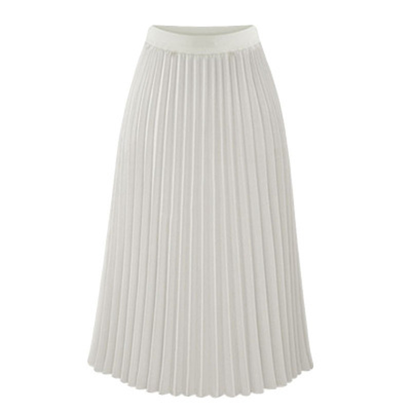 2019 New Spring and Summer Chiffon Women Long Skirt Sweet Solid Pleated Mid-Calf Elastic Waist Empire Slim Half-length Skirt