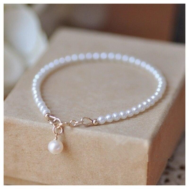 925 sterling argent De Mode Bracelet Natrual AAA 3-4mm Blanc De Pommes De Terre Forme Perle D'eau Douce