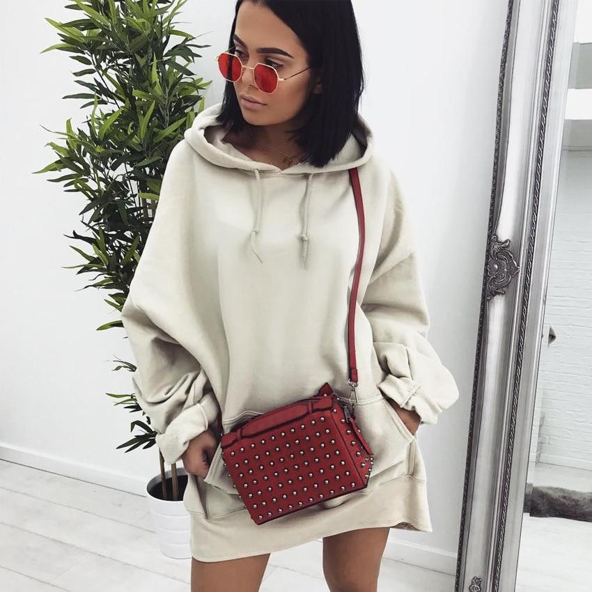 Women Oversized Hoodies Dress Female Long Sleeve Fleece Sweatshirt Tumblr Pullover 2017 Winter Fashion Loose Warm Coat Plus Size In Sweatshirts