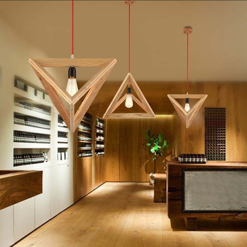 Triangle Oak Pendant Light Art Decorative Wooden Hanging Lamp LED E27 Europe Style Restaurant Cafe Foyer Modern Fixture Dynasty