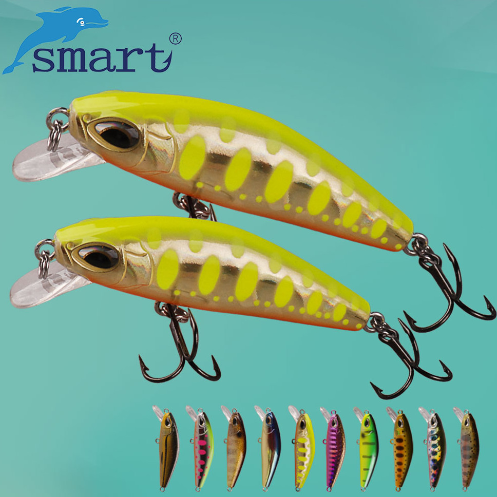 SMART Minnow Fishing Lure 50mm/6.1g Sinking Hard Baits VMC Hook Isca Artificial Para Pesca Leurre Souple Peche Fishing Wobbler smart minnow bait 65mm5 1g vmc hooks floating 1 0m fishing lure baits isca artificial para pesca leurre souple peche kunstaas