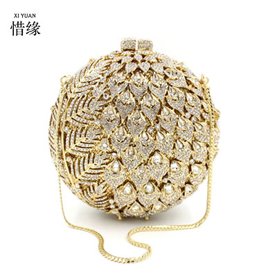 все цены на XIYUAN BRAND Luxury Full Diamond Clutch pineapple Ladies Rhinestone Evening Bag Chain Clutch Purse Banquet Handbag Messenger Bag онлайн