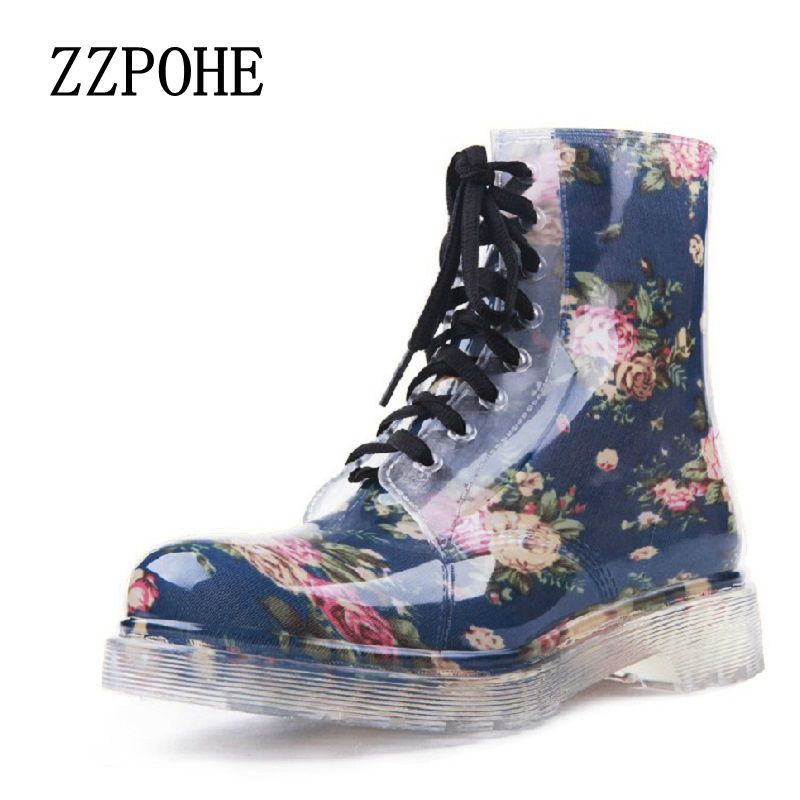 2017 new women Floral Martin rain boots female fashionable short boots slip non-slip comfortable with large size water shoes hxrzyz big size rain boots new fashion non slip rubber boots waterproof fishing boots in the tube rain shoes women