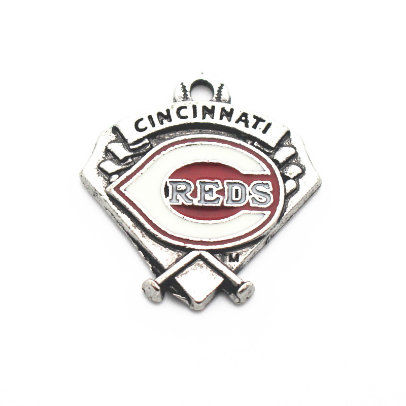 20pcs/lot MLB Cincinnati Reds baseball Team sports dangle charms DIY necklace pendant hanging floating charm jewelry