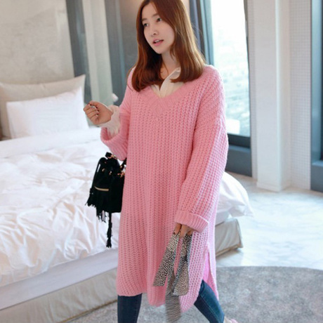 e41555e10a3 V Neck Long Sweater Dress Woman Sweater Winter 2015 Beige Blue Black Pink  Sweater