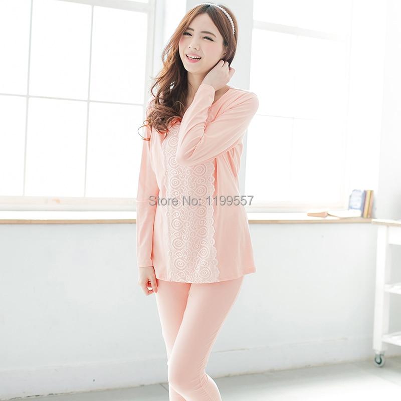 2015 100% cotton Lace patchwork long-sleeve Nursing sleepwear Breastfeeding clothes maternity Pajama Lounge spring and autumn