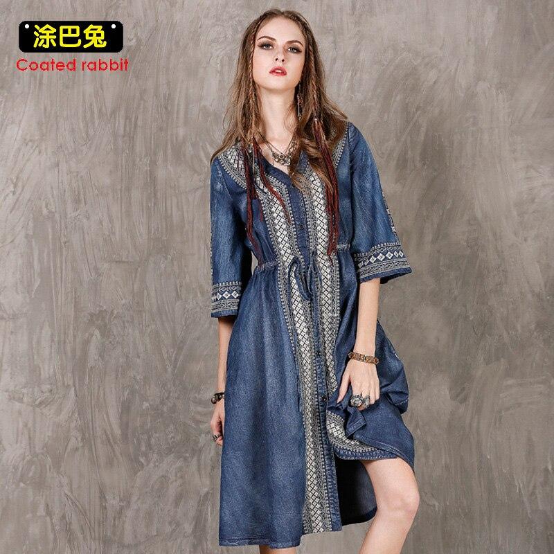 CR Summer Larger Size Denim Dress Women Fashion Drawstring Vintage Embroidery Split Long Dress 2018 Jeans