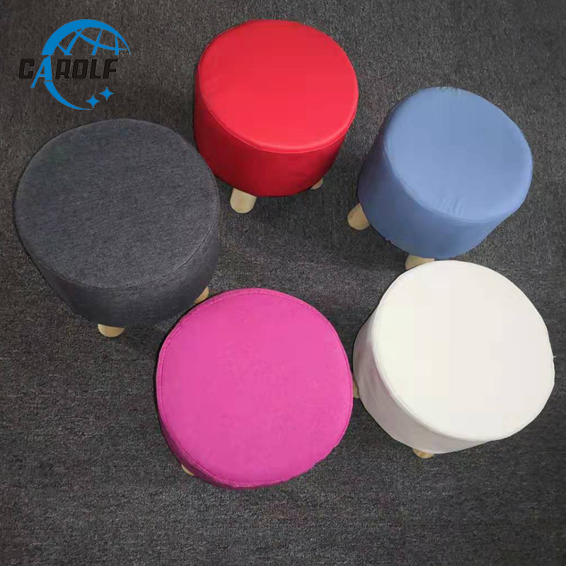 soft round wooden wood footstool ottoman pouffe chair stool with fabric cover colorful