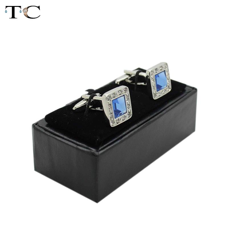 2015 New Hot High Quality Black Faux Leather Small Cufflinks Box 20pcs lot 8x4x3cm Size Classical
