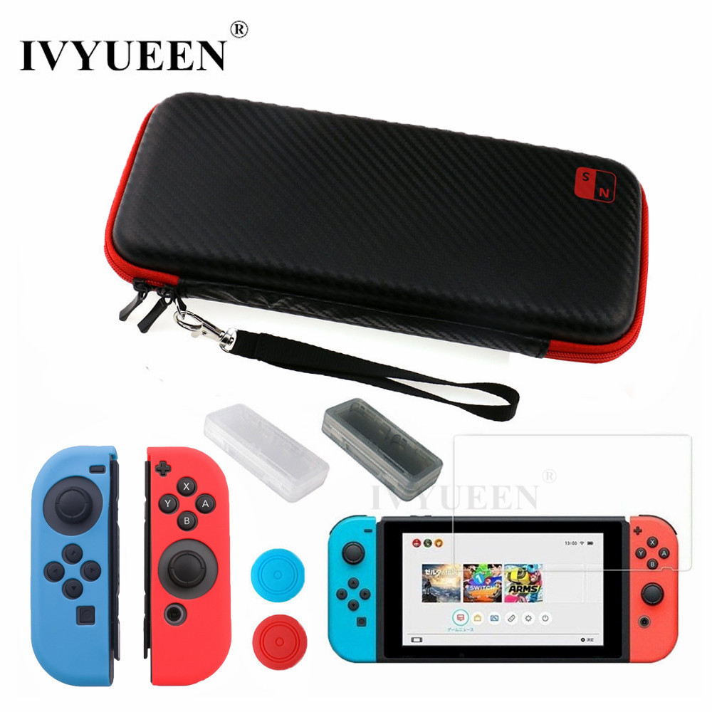 IVYUEEN 8 in 1 for Nintend Switch NS Console Carrying Storage Bag Tempered Glass Screen Protector + Silicone Case for Joy-Con