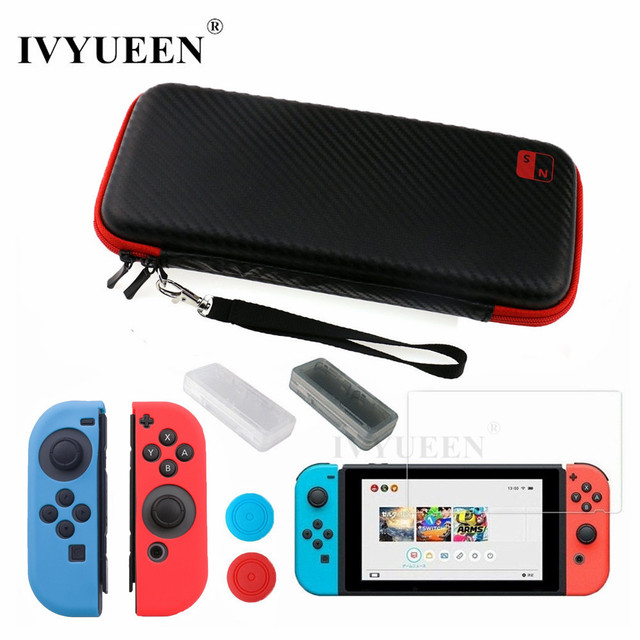 IVYUEEN for Nintend Switch NS Console Carrying Storage Bag Tempered Glass Screen Protector Shell + Silicone Case for Joy Con