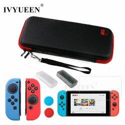 Ivyueen para nintend switch ns console carregando saco de armazenamento protetor de tela de vidro temperado escudo + caso de silicone para joy-con