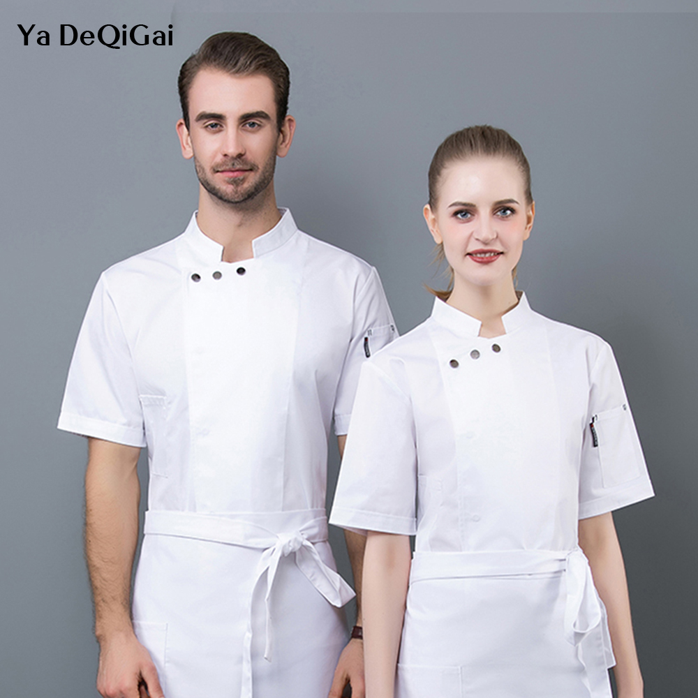 Unisex Casual Soft Kitchen Jacket Short Sleeve Kitchen Restaurant Food Series Workwear Sushi Bread Coffee Black Chef Uniform