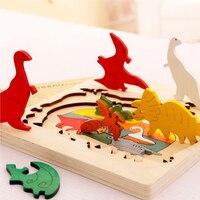 Mamadada Three Layers Funny Children Wooden Puzzle Zauberartikel Educational Cartoon Wood Puzzle Toy