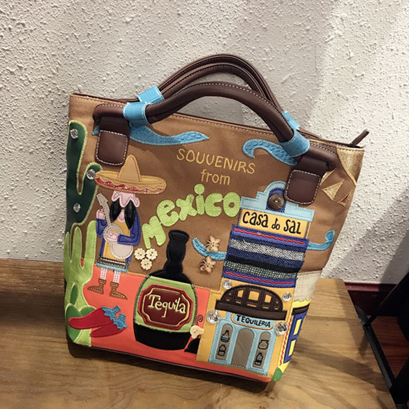 Original Exclusive Creative Design Embroidery Canvas Handbag Women Luxury Brand Bucket Tote Shopper Bag Crossbody Bag Sac A Main