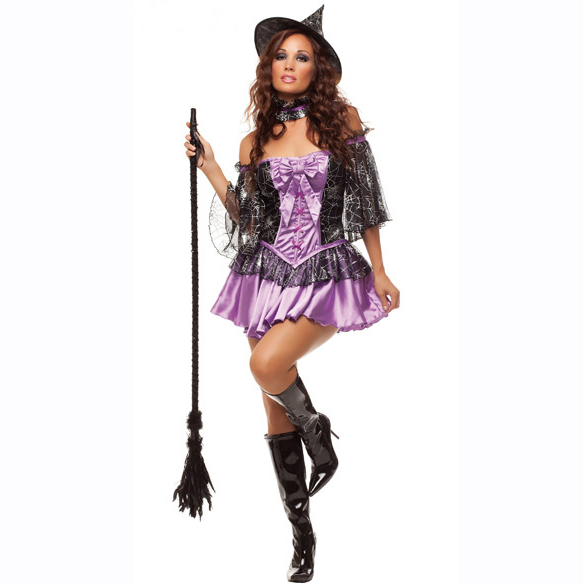 UTMEON Fashion Purple Sorceress Costume Sexy Halloween Witch Net Yarn Costume For Women Carnival Party Fairy Tale Witch  Dress