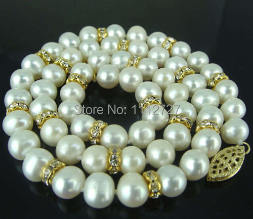 Hot 2017 new fashion style Charming!8-9mm White Akoya Shell Pearl Necklace Beads Jewelry Natural Stone 18''BV232 Wholesale Price