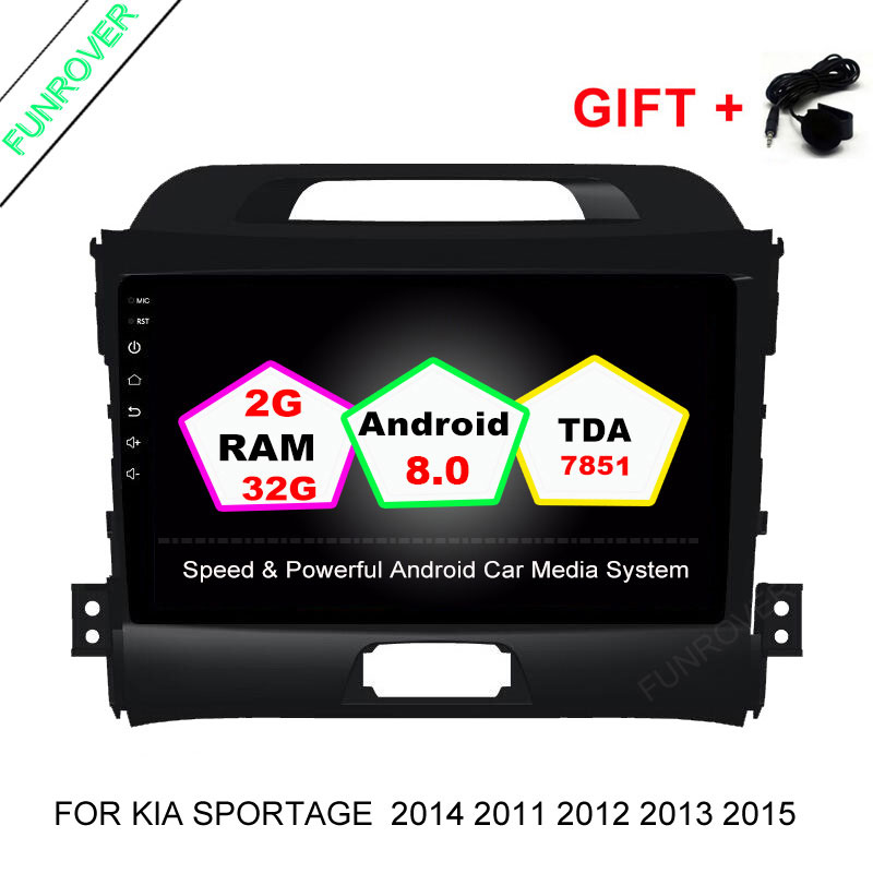 FUNROVER Android 8.0 2+32G Quad-core Headunit Car DVD player for KIA Sportage  2014 2011 2012 2013 2015 Gps wifi Radio Bluetooth