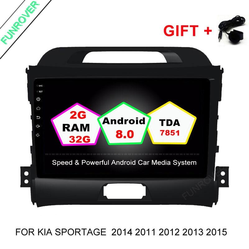 FUNROVER Android 8.0 Headunit Car DVD player for KIA Sportage 2014 2011 2012 2013 2015 Gps wifi Radio Bluetooth 2+32G Quad-core