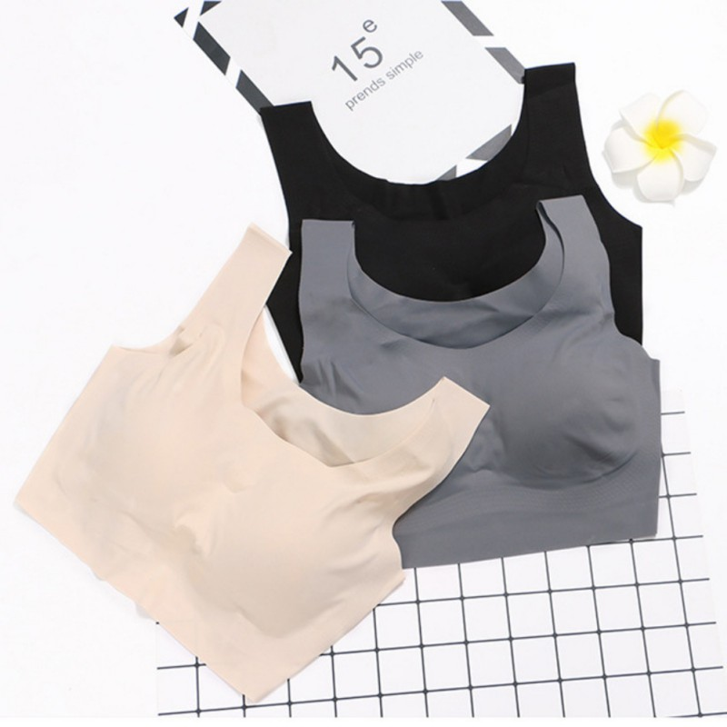 Glossy Wide Strap Solid Push Up Bra Fitness Vest Tops Wire Free Seamless Underwear Women Sexy Full Cup Bras sujetador deportivo