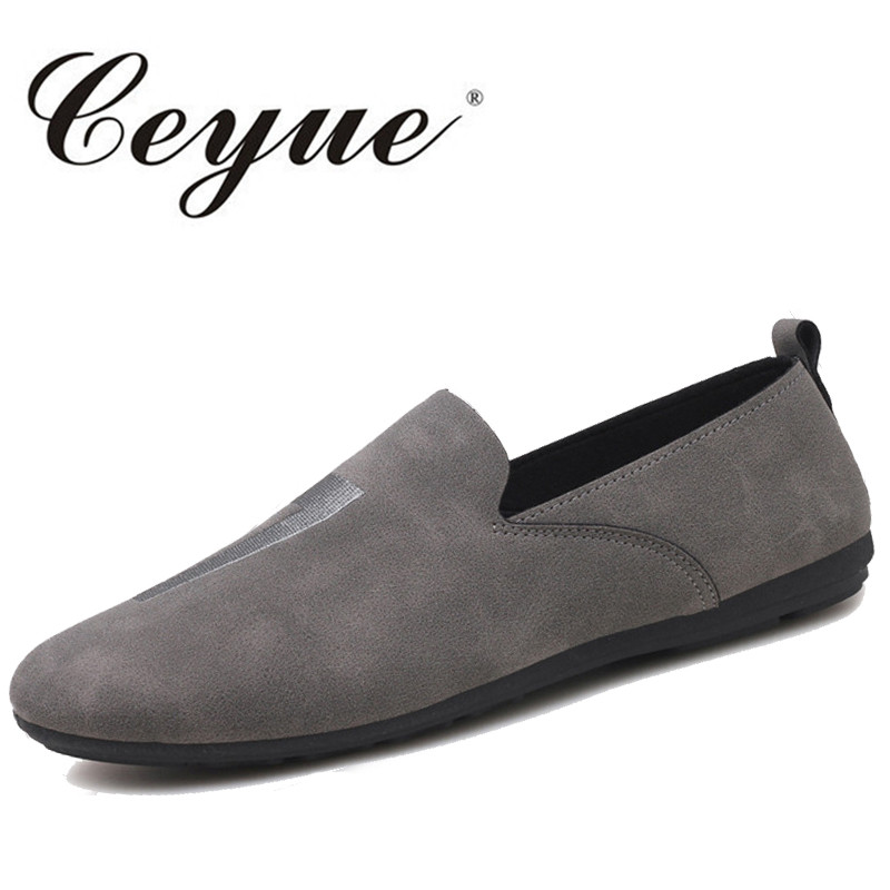 Ceyue New Men Casual Suede Loafers Solid Leather Driving Moccasins Slip on Flat Shoe Men Formal Loafers Shoes Male Dress Loafers ceyue new genuine leather men casual shoes cowhide driving moccasins slip on loafers men hot designer shoes flats big size 38 47