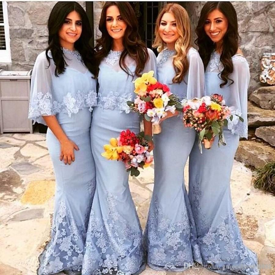 Sky blue mermaid bridesmaid dresses 2017 spaghetti strap appliqued sky blue mermaid bridesmaid dresses 2017 spaghetti strap appliqued long chiffon bridesmaid gowns with shawl for wedding party in bridesmaid dresses from ombrellifo Choice Image
