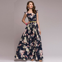 Women Printing Party Dress 2018 Popular Sleeveless Square Collar Sexy Long Vestidos Elegant Fall Pleated vestidos