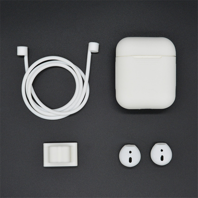 For Apple Airpods Earphone Accessories Kits 1* Silicone Case 2* Earphone Silicone Case 1* Earphone Stand 1* Rope For Air pods цена