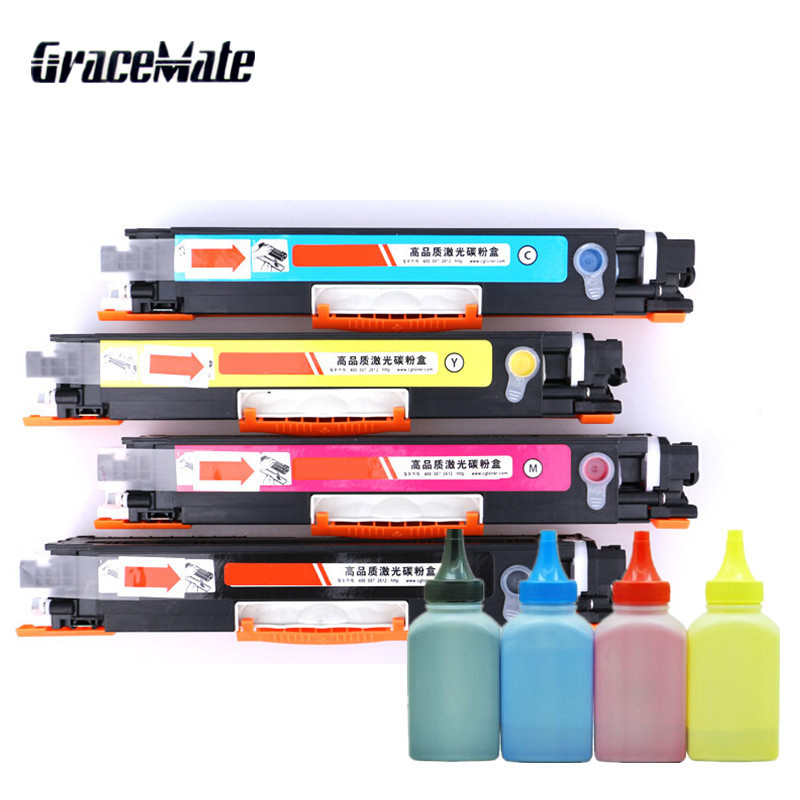 4 pièces CF350 Compatible Cartouche De Toner et poudre de toner couleur Pour HP colour LaserJet Pro MFP M176n 177fw Imprimante Poudre