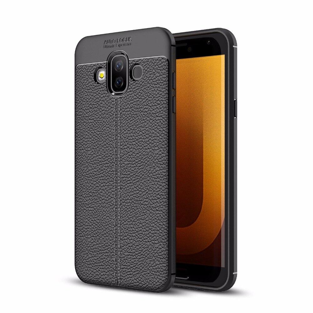 Для samsung Galaxy J7 Duo J720 ультра тонкий искусственная кожа чехол противоударный Гибкая Резина TPU силиконовая защитная крышка делам