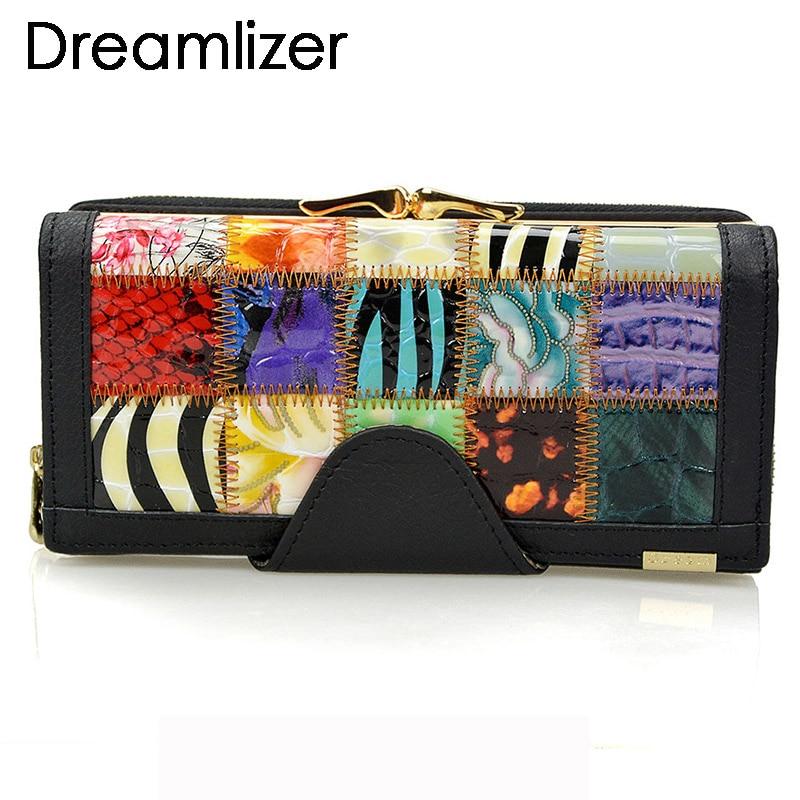 Dreamlizer 3 veces moda cuero genuino mujeres carteras Patchwork - Monederos y carteras