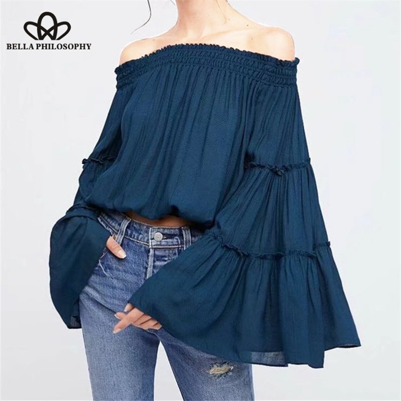 Bella filosofia 2019 primavera feminina blusa sólida curta slash neck feminino camisa casual moda alargamento manga longa blusa feminina